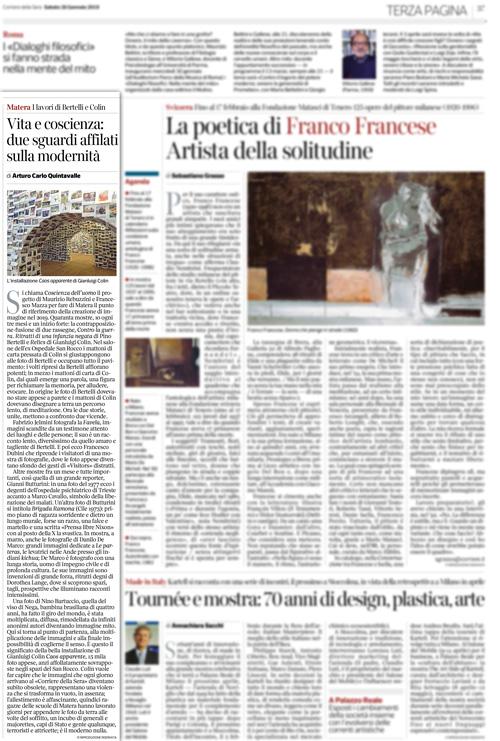Articolo del Corriere della Sera su Matera 2019 - Coscienza dell'uomo